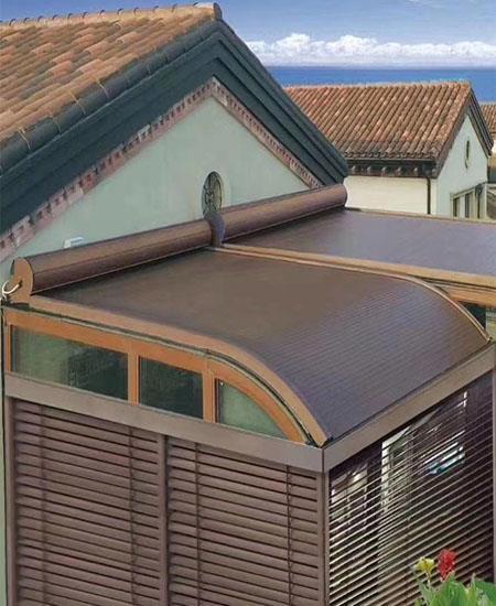 陽光房遮陽頂簾玻璃房遮陽棚遮陽天幕