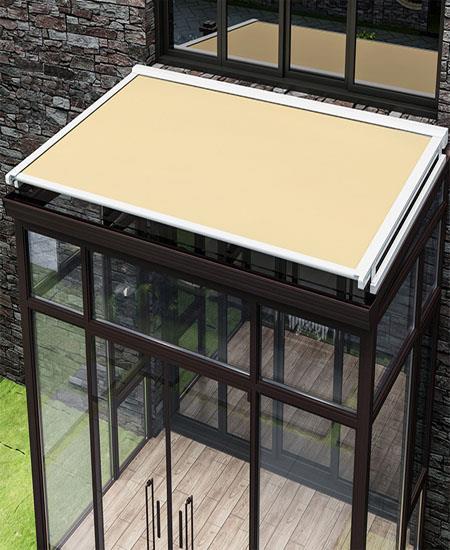 戶外天幕遮陽棚伸縮式雨棚陽臺家用庭院電動遮陽棚